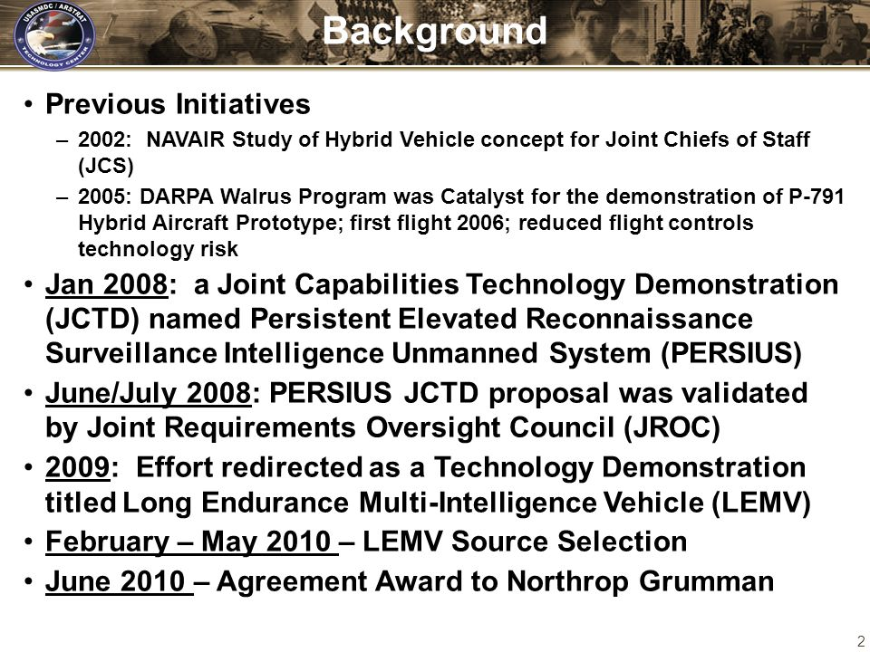 2 Background Previous Initiatives –2002: NAVAIR Study of Hybrid Vehicle concept for Joint Chiefs of Staff (JCS) –2005: DARPA Walrus Program was Cataly