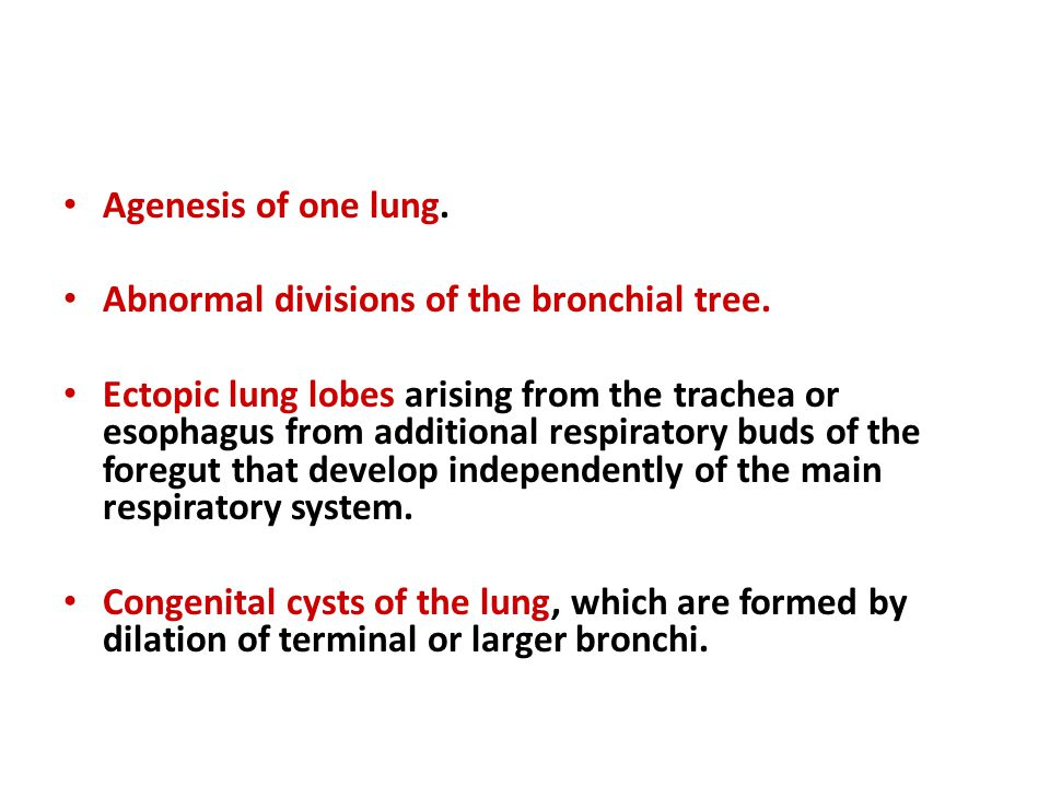 Agenesis of one lung. Abnormal divisions of the bronchial tree. Ectopic lung lobes arising from the trachea or esophagus from additional respiratory b