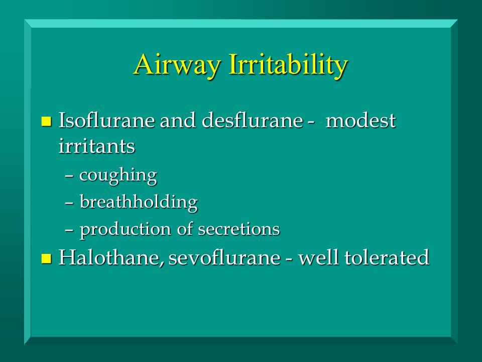 Airway Irritability n Isoflurane and desflurane - modest irritants –coughing –breathholding –production of secretions n Halothane, sevoflurane - well tolerated