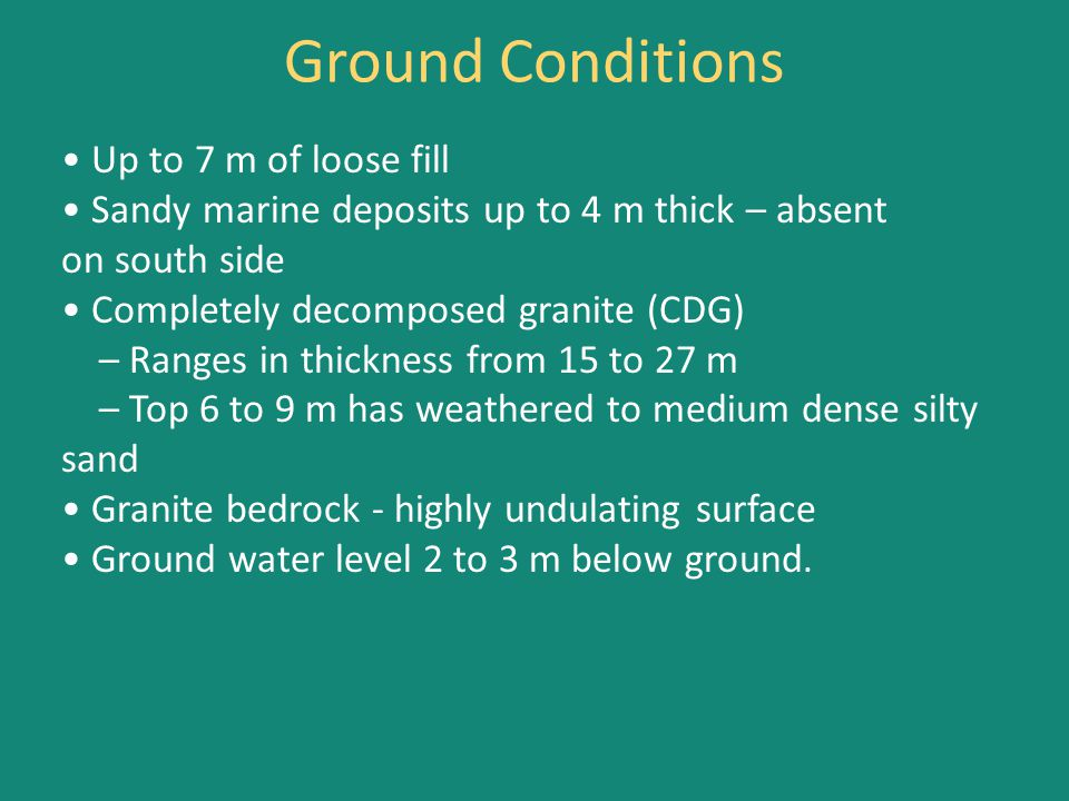 Up to 7 m of loose fill Sandy marine deposits up to 4 m thick – absent on south side Completely decomposed granite (CDG) – Ranges in thickness from 15 to 27 m – Top 6 to 9 m has weathered to medium dense silty sand Granite bedrock - highly undulating surface Ground water level 2 to 3 m below ground.
