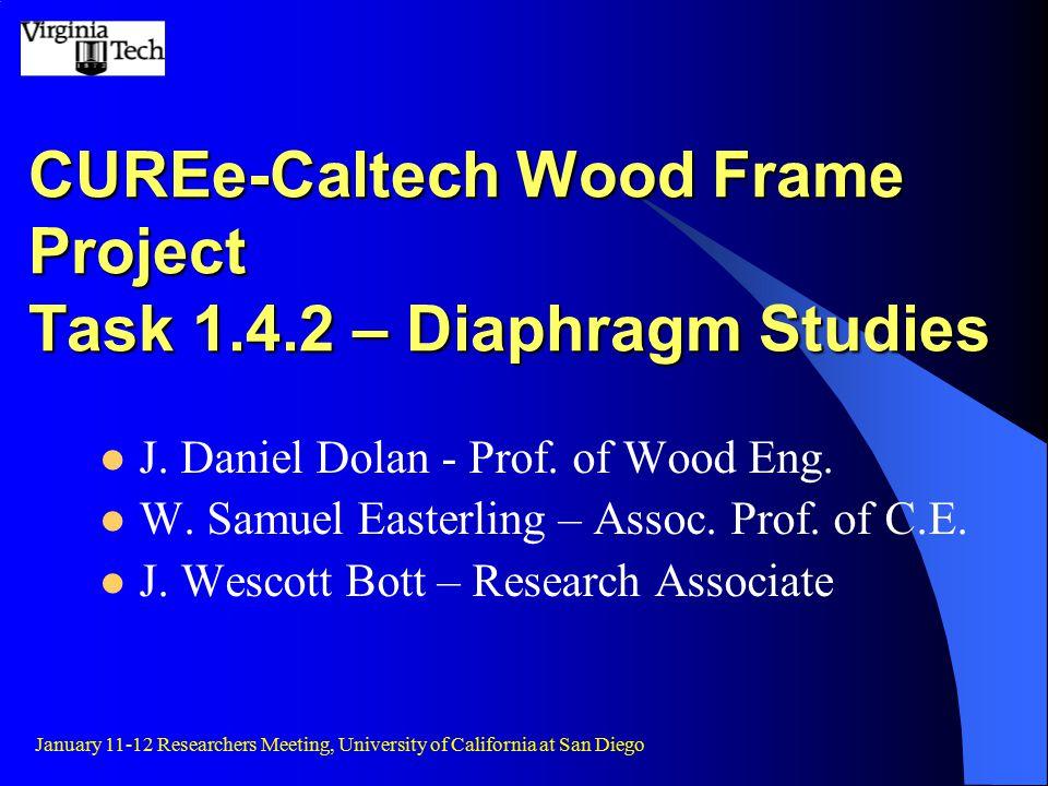 CUREe-Caltech Wood Frame Project Task 1.4.2 – Diaphragm Studies J.