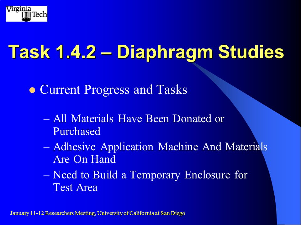 Task 1.4.2 – Diaphragm Studies Current Progress and Tasks –All Materials Have Been Donated or Purchased –Adhesive Application Machine And Materials Are On Hand –Need to Build a Temporary Enclosure for Test Area January 11-12 Researchers Meeting, University of California at San Diego