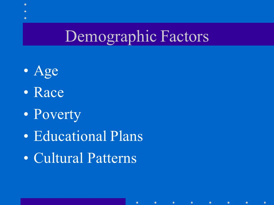 Demographic Factors Age Race Poverty Educational Plans Cultural Patterns