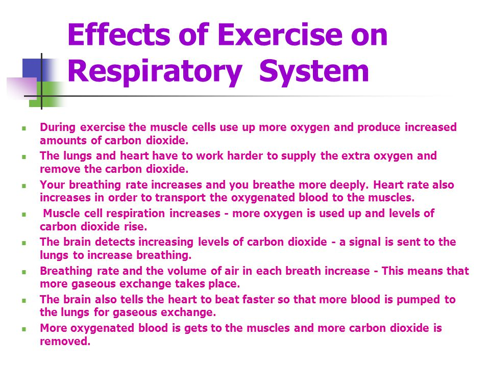 Effects of Exercise on Respiratory System During exercise the muscle cells use up more oxygen and produce increased amounts of carbon dioxide. The lun