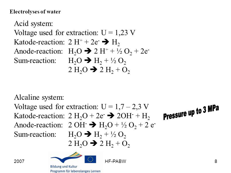 2007HF-PABW9 Electrolysis of water – Electrolysis of sulfuric-acid cathode-reaction: 2 H + + 2e -  H 2 anode-reaction: 2 HSO 4 -  S 2 O 8 2- + 2H + + 2e - H 2 S 2 O 8 + H 2 O  H 2 SO 5 + H 2 SO 4 H 2 SO 5 + H 2 O  H 2 SO 4 + H 2 O 2 2 H 2 O 2  2 H 2 O + O 2