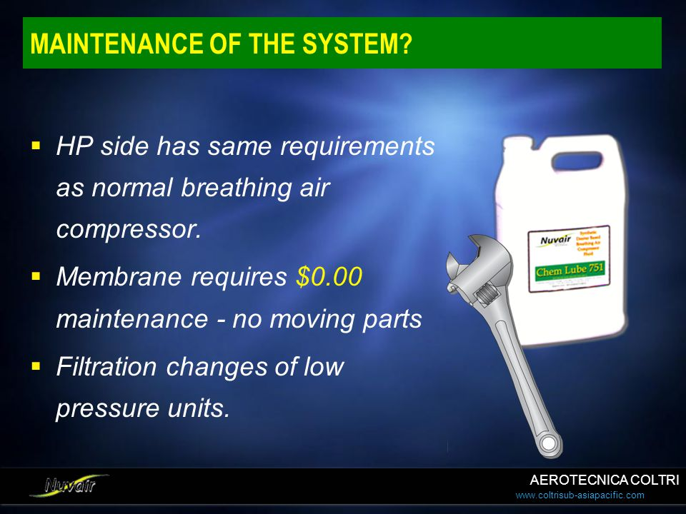 www.coltrisub-asiapacific.com MAINTENANCE OF THE SYSTEM?  HP side has same requirements as normal breathing air compressor.  Membrane requires $0.00