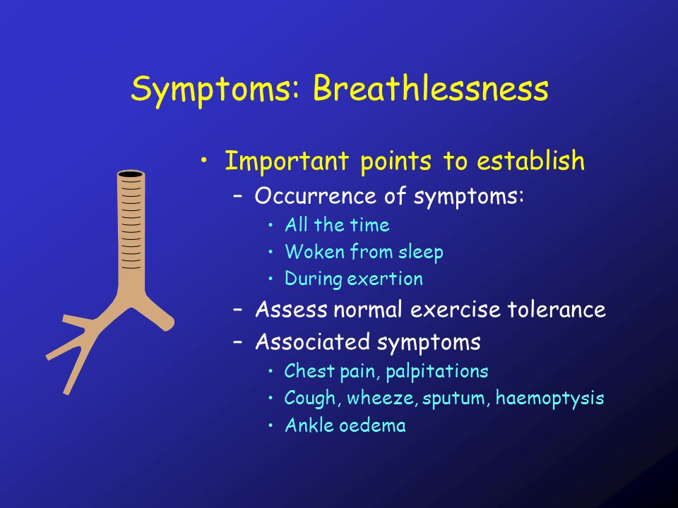Symptoms: Breathlessness Important points to establish –Occurrence of symptoms: All the time Woken from sleep During exertion –Assess normal exercise tolerance –Associated symptoms Chest pain, palpitations Cough, wheeze, sputum, haemoptysis Ankle oedema
