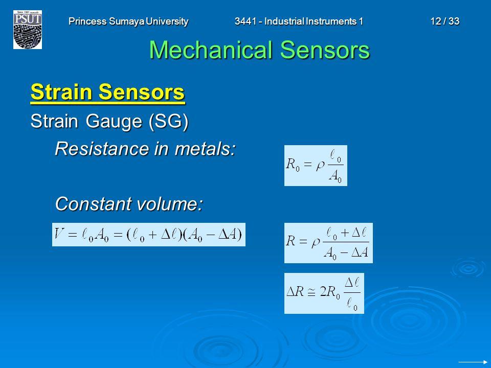 Princess Sumaya University3441 - Industrial Instruments 112 / 33 Mechanical Sensors Strain Sensors Strain Gauge (SG) Resistance in metals: Constant vo