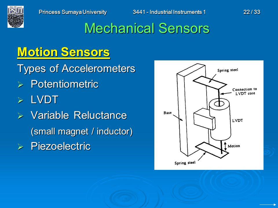 Princess Sumaya University3441 - Industrial Instruments 122 / 33 Mechanical Sensors Motion Sensors Types of Accelerometers  Potentiometric  LVDT  V