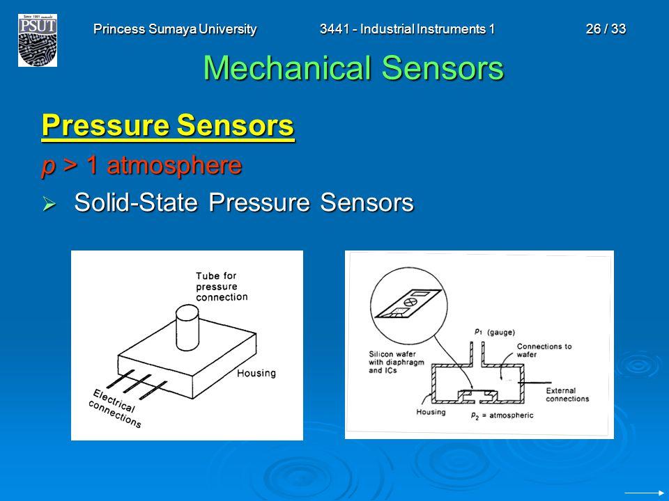 Princess Sumaya University3441 - Industrial Instruments 126 / 33 Mechanical Sensors Pressure Sensors p > 1 atmosphere  Solid-State Pressure Sensors