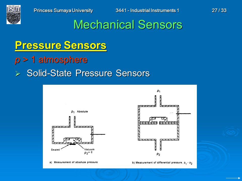 Princess Sumaya University3441 - Industrial Instruments 127 / 33 Mechanical Sensors Pressure Sensors p > 1 atmosphere  Solid-State Pressure Sensors