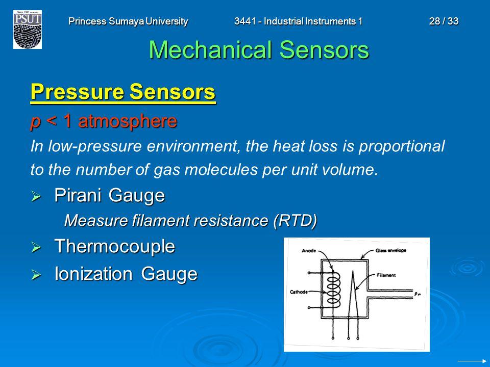 Princess Sumaya University3441 - Industrial Instruments 128 / 33 Mechanical Sensors Pressure Sensors p < 1 atmosphere In low-pressure environment, the