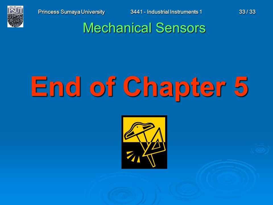 Princess Sumaya University3441 - Industrial Instruments 133 / 33 End of Chapter 5 Mechanical Sensors