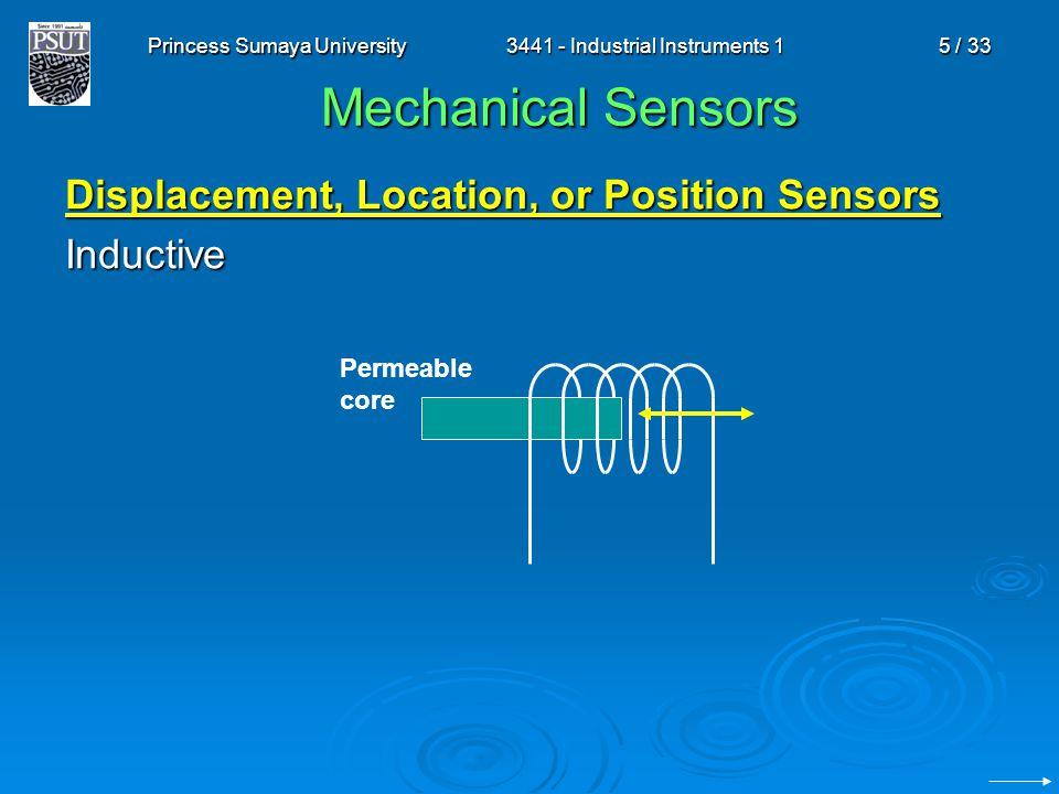 Princess Sumaya University3441 - Industrial Instruments 15 / 33 Mechanical Sensors Displacement, Location, or Position Sensors Inductive Permeable cor
