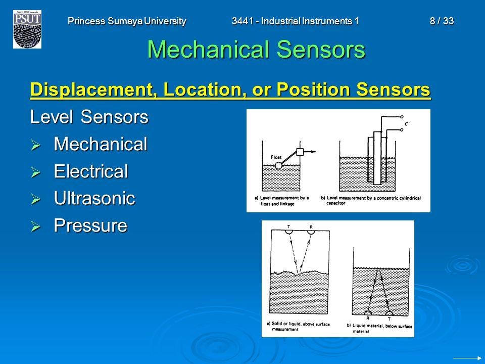 Princess Sumaya University3441 - Industrial Instruments 18 / 33 Mechanical Sensors Displacement, Location, or Position Sensors Level Sensors  Mechani