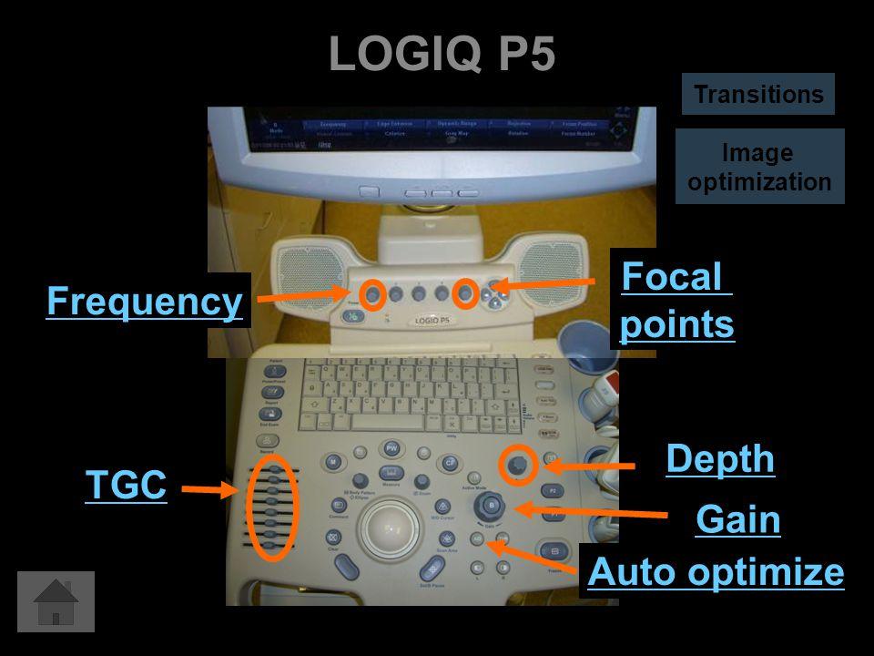 LOGIQ P5 Auto optimize Gain Depth TGC Focal points Frequency Image optimization Transitions