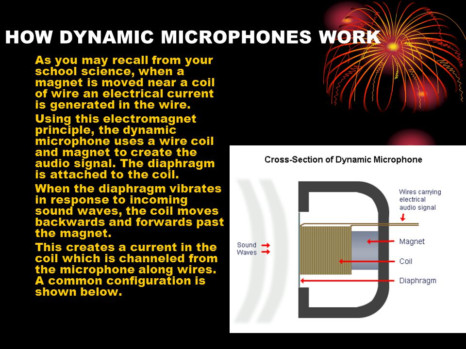 HOW DYNAMIC MICROPHONES WORK As you may recall from your school science, when a magnet is moved near a coil of wire an electrical current is generated in the wire.