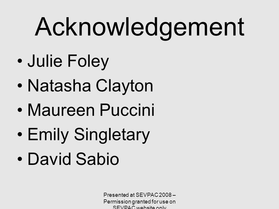 Acknowledgement Julie Foley Natasha Clayton Maureen Puccini Emily Singletary David Sabio Presented at SEVPAC 2008 – Permission granted for use on SEVP