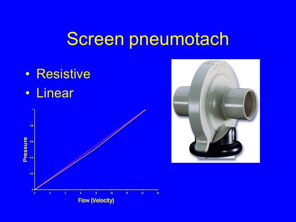 Screen pneumotach Resistive Linear