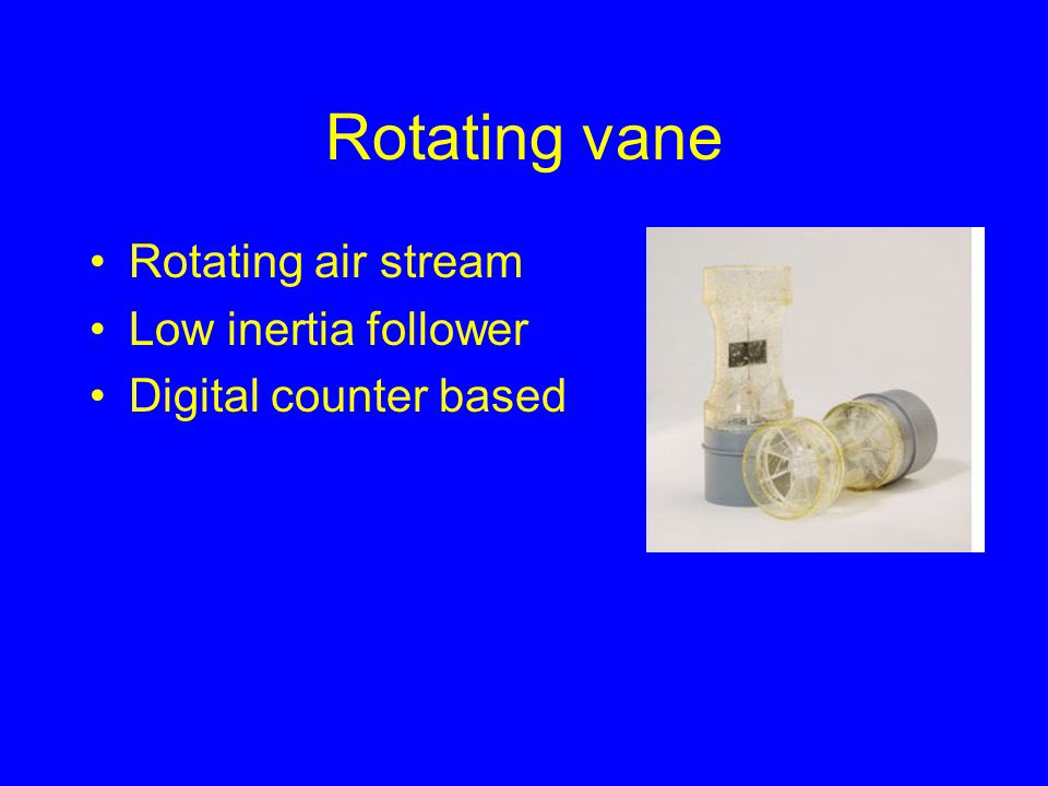 Rotating vane Rotating air stream Low inertia follower Digital counter based