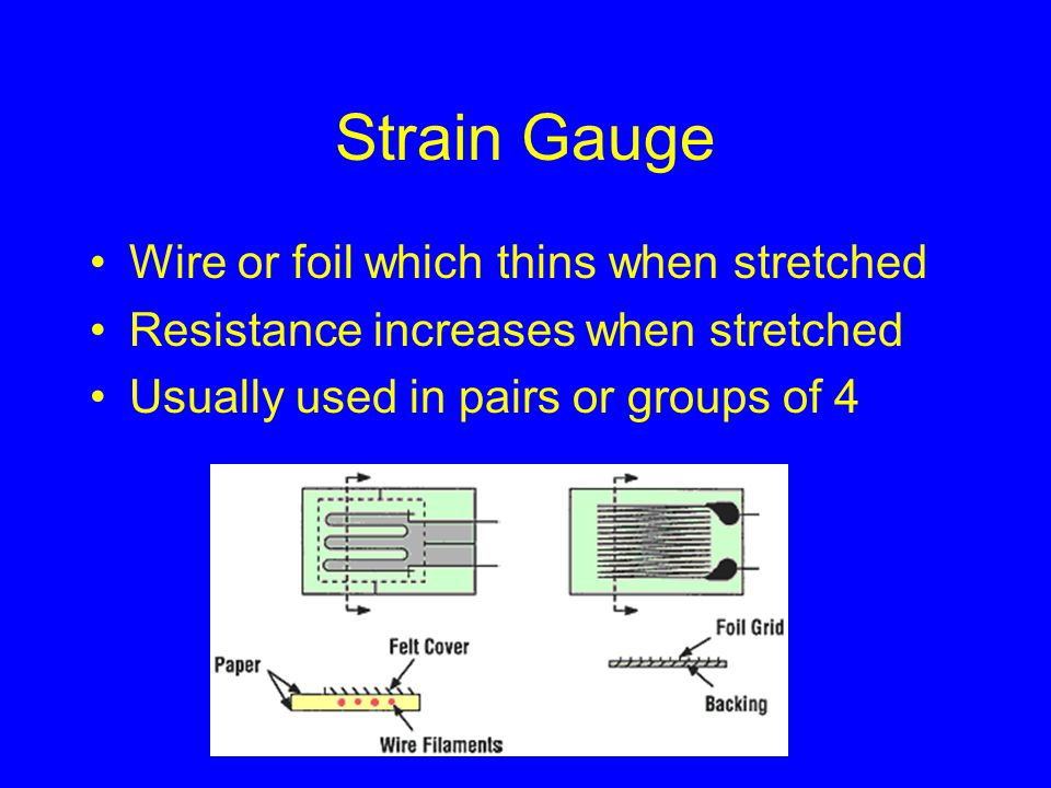 Strain Gauge Wire or foil which thins when stretched Resistance increases when stretched Usually used in pairs or groups of 4