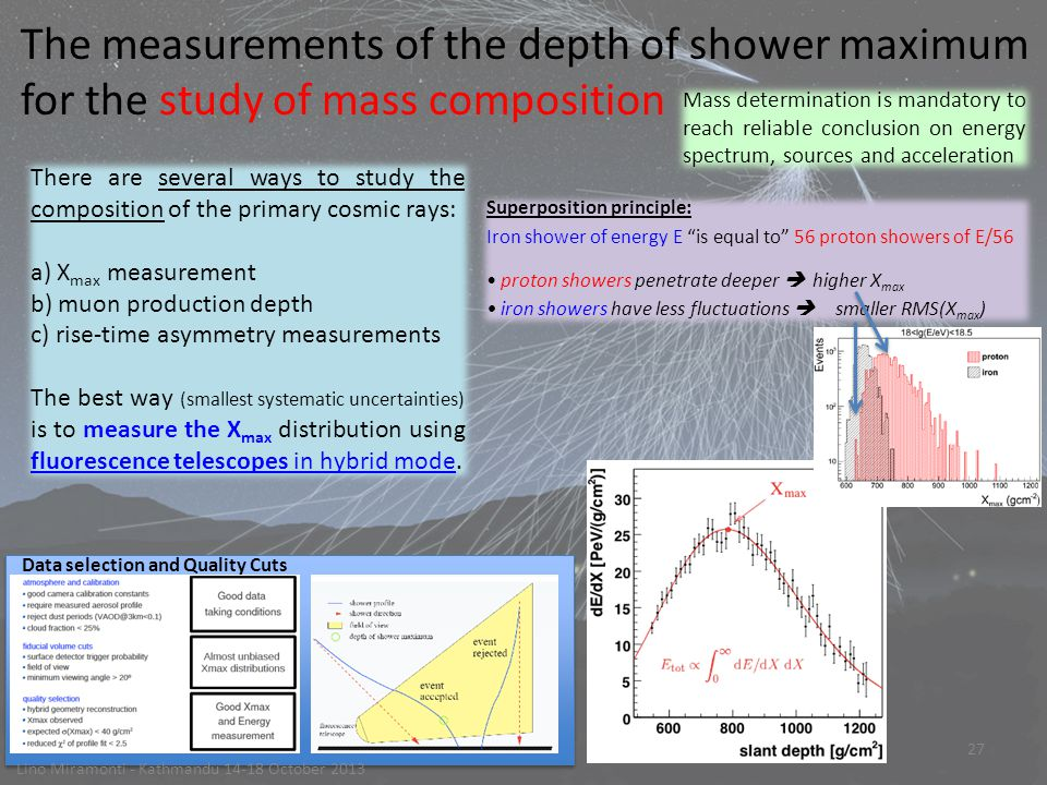 27 Lino Miramonti - Kathmandu 14-18 October 2013 The measurements of the depth of shower maximum for the study of mass composition Superposition principle: Iron shower of energy E is equal to 56 proton showers of E/56 proton showers penetrate deeper  higher X max iron showers have less fluctuations  smaller RMS(X max ) Mass determination is mandatory to reach reliable conclusion on energy spectrum, sources and acceleration Data selection and Quality Cuts There are several ways to study the composition of the primary cosmic rays: a) X max measurement b) muon production depth c) rise-time asymmetry measurements The best way (smallest systematic uncertainties) is to measure the X max distribution using fluorescence telescopes in hybrid mode.