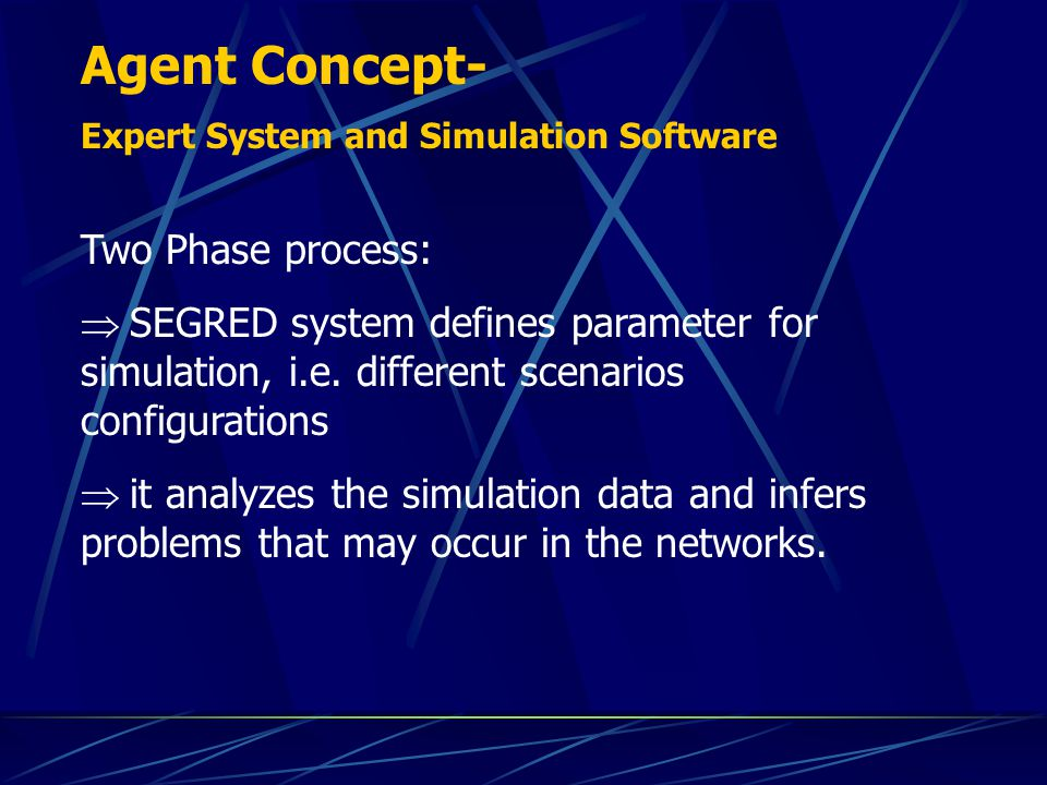 Integration between Expert System and Simulator Configuration scenarios Validation process variables Analysis and prognosis of failures with generation of suggestions operational failures diagnosis and generation of procedures for maintenance Agent Maintenance Module System development :
