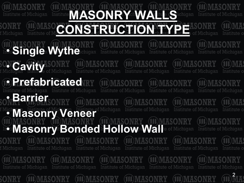 3 MASONRY WALLS STRUCTURAL FUNCTION Veneer Nonloadbearing Loadbearing Shear