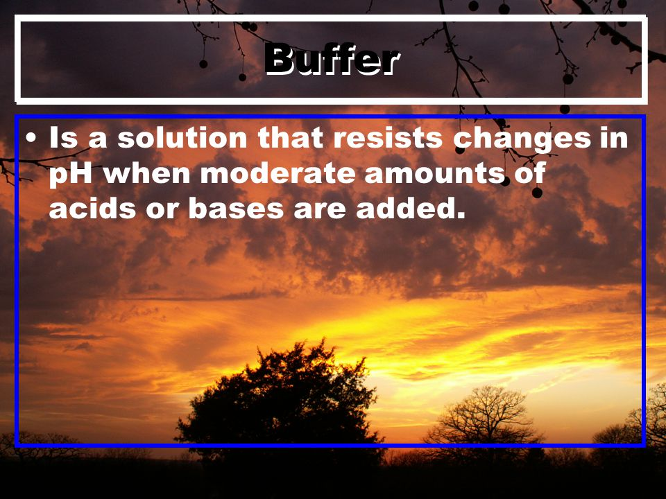 Buffer Is a solution that resists changes in pH when moderate amounts of acids or bases are added.