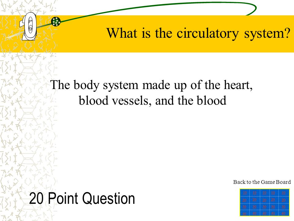 10 Point Question The body system that rids the body of harmful wastes produced by the cells What is the excretory system? Back to the Game Board