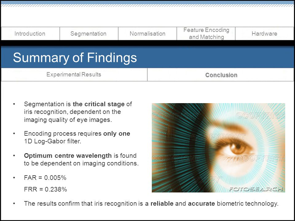 Summary of Findings Segmentation is the critical stage of iris recognition, dependent on the imaging quality of eye images.