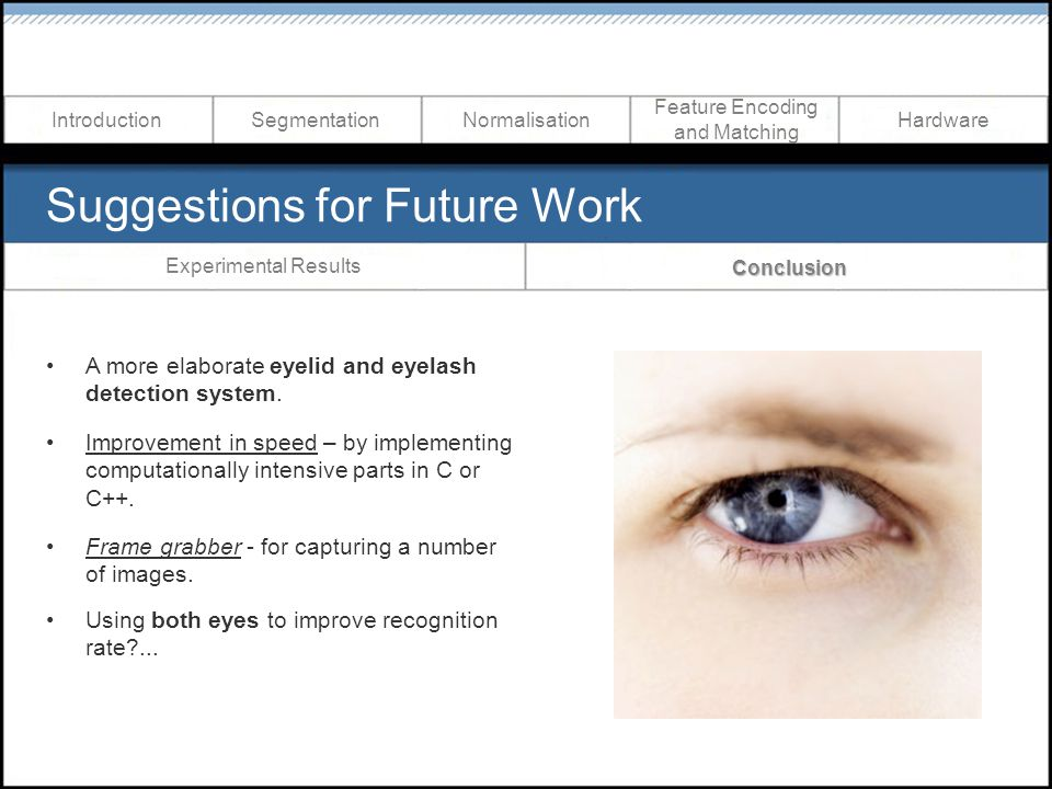 Suggestions for Future Work A more elaborate eyelid and eyelash detection system. Improvement in speed – by implementing computationally intensive par