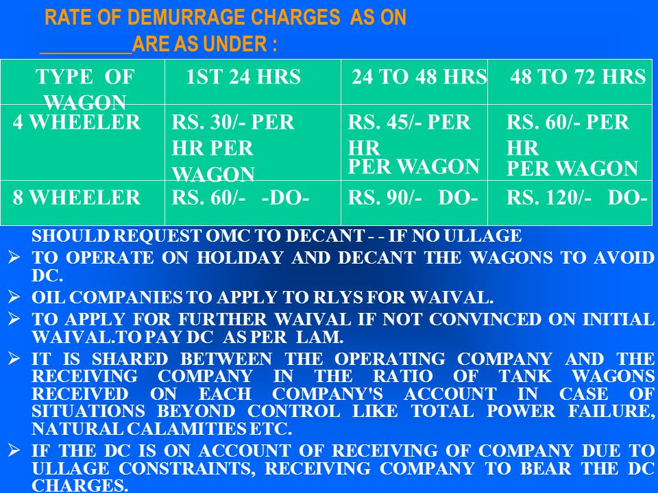 SHOULD REQUEST OMC TO DECANT - - IF NO ULLAGE  TO OPERATE ON HOLIDAY AND DECANT THE WAGONS TO AVOID DC.  OIL COMPANIES TO APPLY TO RLYS FOR WAIVAL.