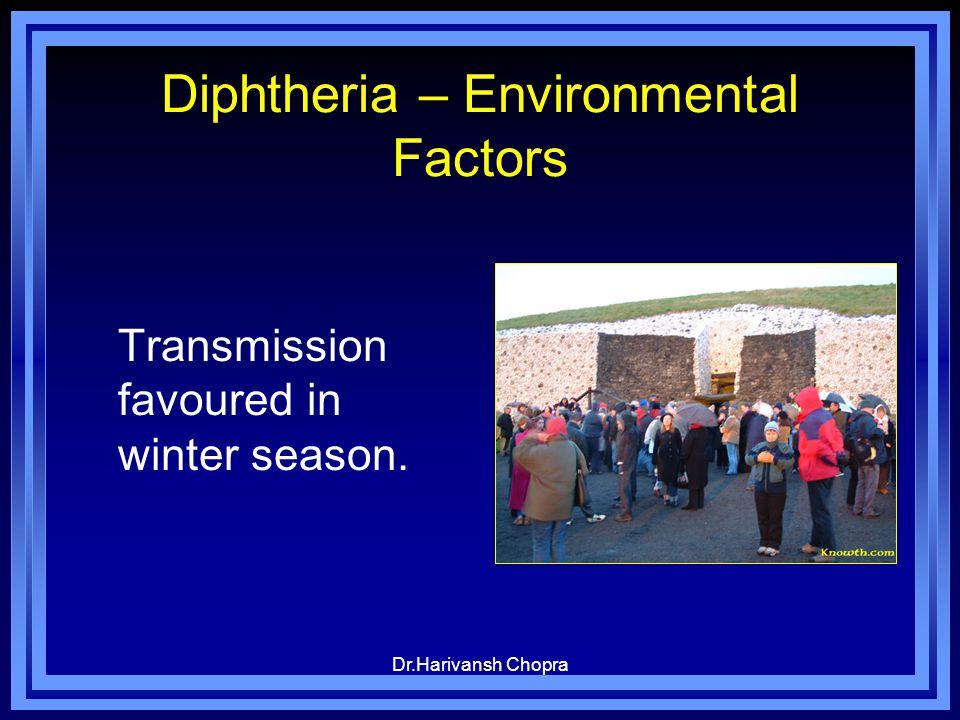 Dr.Harivansh Chopra Diphtheria – Environmental Factors Transmission favoured in winter season.