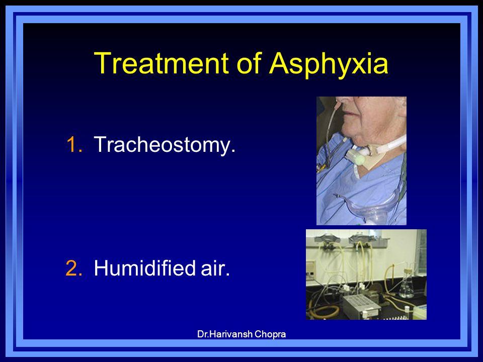 Dr.Harivansh Chopra Treatment of Asphyxia 1.Tracheostomy. 2.Humidified air.