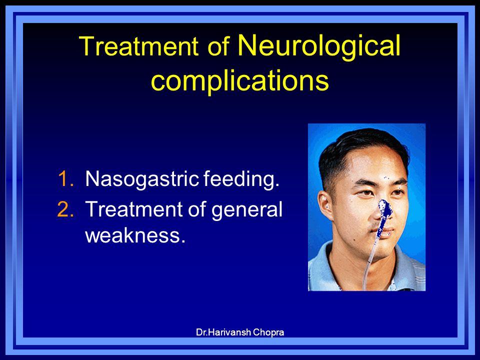 Dr.Harivansh Chopra Treatment of Neurological complications 1.Nasogastric feeding. 2.Treatment of general weakness.