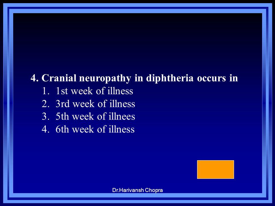 Dr.Harivansh Chopra 4. Cranial neuropathy in diphtheria occurs in 1.1st week of illness 2.3rd week of illness 3.5th week of illnees 4.6th week of illn