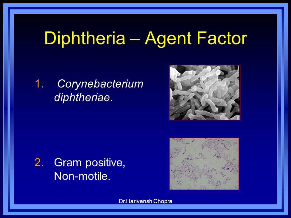 Dr.Harivansh Chopra Diphtheria – Agent Factor 1..Corynebacterium diphtheriae. 2.Gram positive, Non-motile.