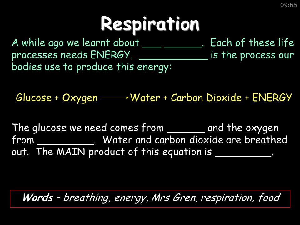09:55Respiration Words – breathing, energy, Mrs Gren, respiration, food A while ago we learnt about ___ ______.