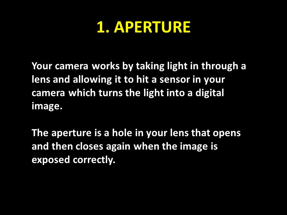 1. APERTURE Your camera works by taking light in through a lens and allowing it to hit a sensor in your camera which turns the light into a digital im