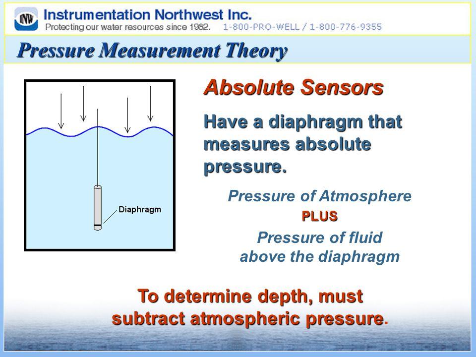 To determine depth, must subtract atmospheric pressure To determine depth, must subtract atmospheric pressure.