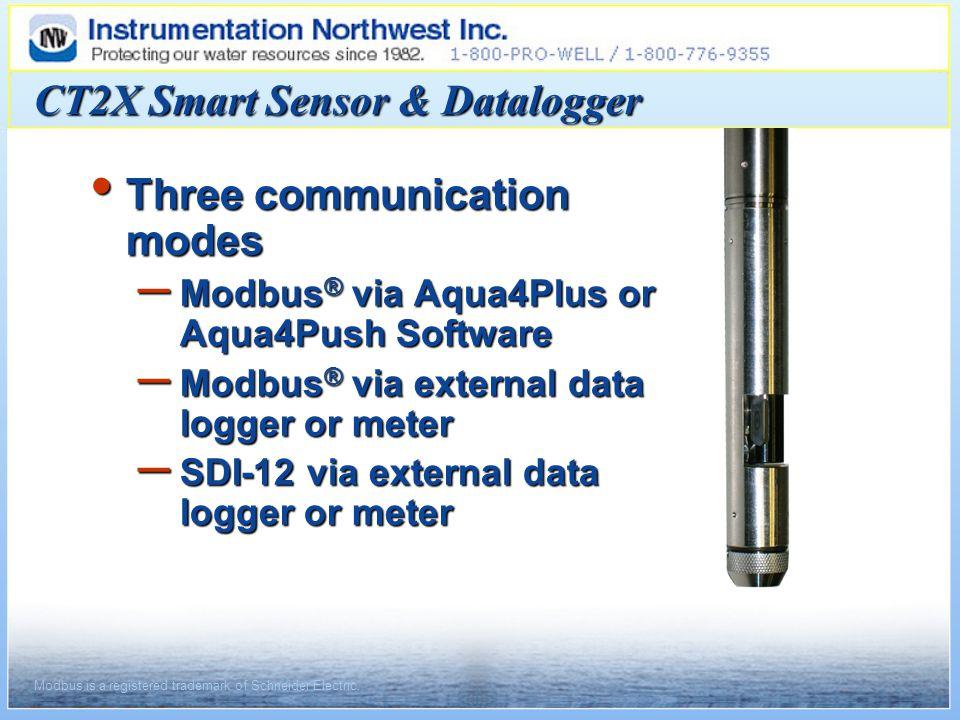 Three communication modes Three communication modes – Modbus ® via Aqua4Plus or Aqua4Push Software – Modbus ® via external data logger or meter – SDI-12 via external data logger or meter CT2X Smart Sensor & Datalogger Modbus is a registered trademark of Schneider Electric.