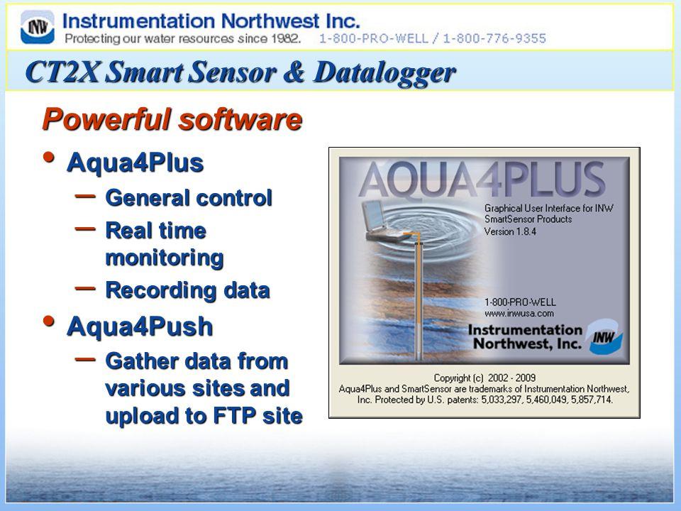 CT2X Smart Sensor & Datalogger Aqua4Plus Aqua4Plus – General control – Real time monitoring – Recording data Aqua4Push Aqua4Push – Gather data from various sites and upload to FTP site Powerful software