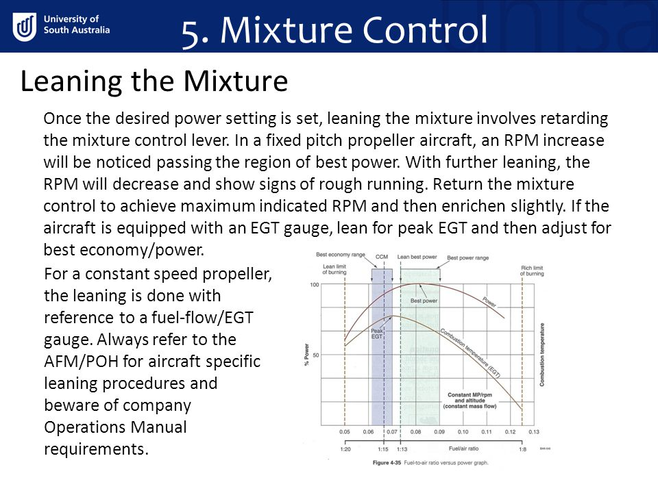 5. Mixture Control Leaning the Mixture Once the desired power setting is set, leaning the mixture involves retarding the mixture control lever. In a f