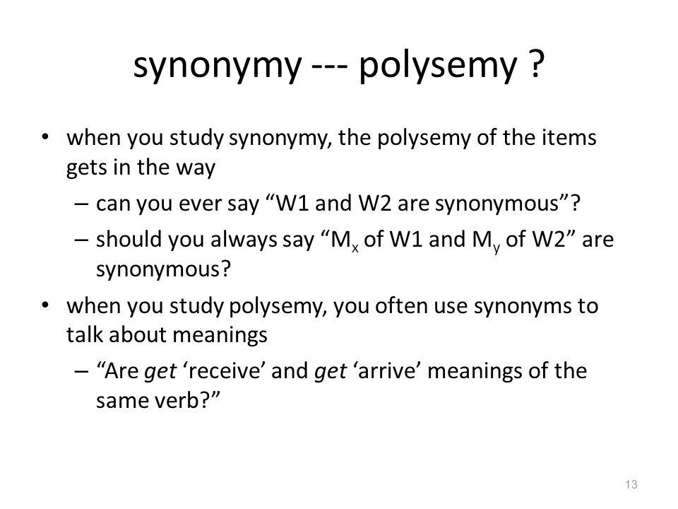 synonymy --- polysemy .