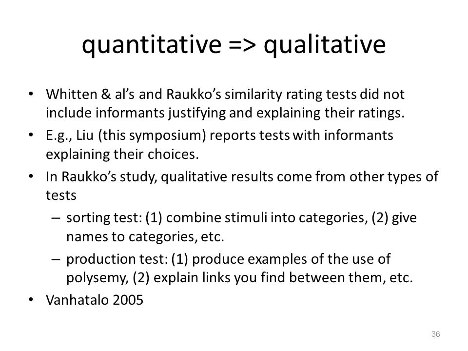 quantitative => qualitative Whitten & al's and Raukko's similarity rating tests did not include informants justifying and explaining their ratings.