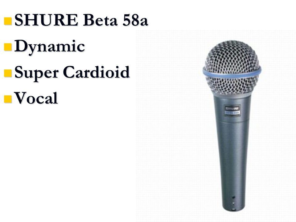 SHURE Beta 58a SHURE Beta 58a Dynamic Dynamic Super Cardioid Super Cardioid Vocal Vocal
