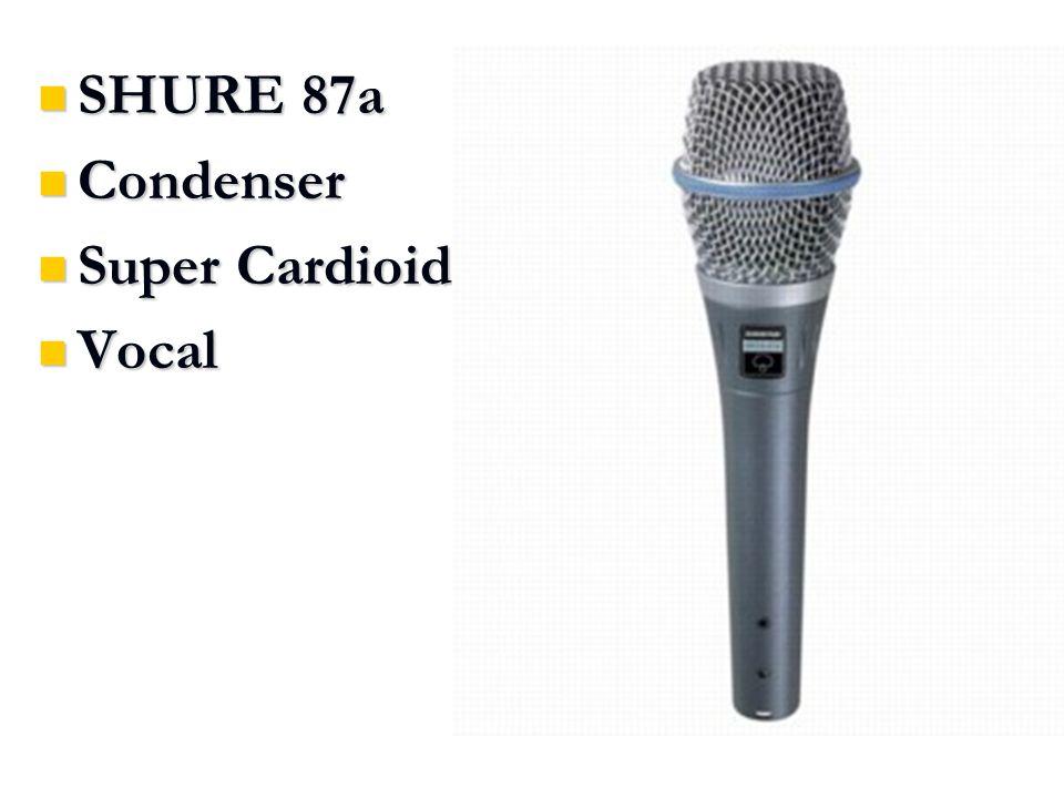 SHURE 87a SHURE 87a Condenser Condenser Super Cardioid Super Cardioid Vocal Vocal