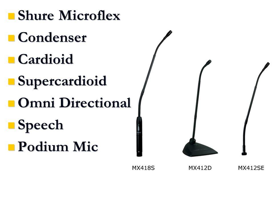 Shure Microflex Shure Microflex Condenser Condenser Cardioid Cardioid Supercardioid Supercardioid Omni Directional Omni Directional Speech Speech Podium Mic Podium Mic