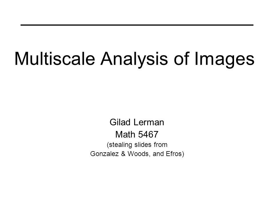 Multiscale Analysis of Images Gilad Lerman Math 5467 (stealing slides from Gonzalez & Woods, and Efros)